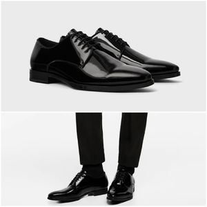 Zara man black derby shoes with patent finish